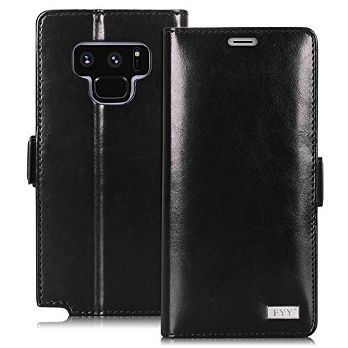 FYY [Premium Leather] Wallet Case for Samsung Galaxy Note 9 2018, Handmade Flip Folio Wallet Case with Kickstand Card Slots Magnetic Closure for Samsung Galaxy Note 9 (2018) Black