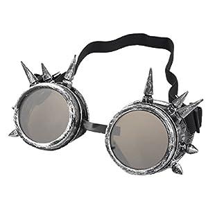 Doinshop Unisex Vintage Steampunk Goggles Glasses Punk Gothic Lenses Eyewear (Ancient Silver)