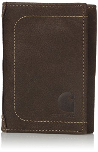 Tri Fold Belt - Carhartt Men's Pebble RFID Blocking Trifold, Brown, One Size