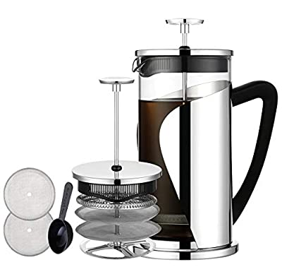 Bebeke 1 2-hy French Press 34oz Coffee and Tea Makers with 4 Level Filtration System, BPA Free, FDA Approved, Heat Resistant Borosilicate Glass, 34 oz, Silver