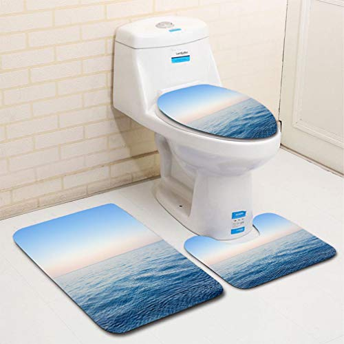 Clear Standard Seat Toilet (MTSJTliangwan Home Bathroom 3 Piece Sets, Included Bath Area Rug+Contour Mat+Lid Toilet Seat Cover Blue Clear Sky Above The Calm Ionian Sea at Sunset in Kefalonia Flannel Carpet)