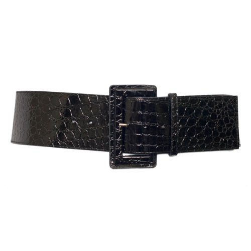 Black Croco Leather (eVogues Plus Size Croco Print Patent Leather Belt Black - One Size Plus)