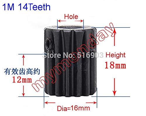 Fevas Spur Gear Pinion 14T Mod 1 M=1 Width 12mm Bore 5mm Right Teeth 45# Steel Positive Gear CNC Gear Rack Transmission Motor Gears - (Number of Teeth: 14 Teeth, Hole Diameter: 7mm) ()