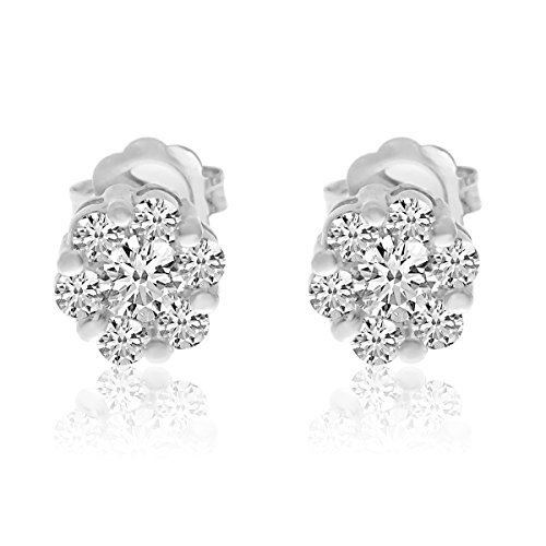 14k White Gold Diamond Clustaire Earings -  Direct-Jewelry, E9112