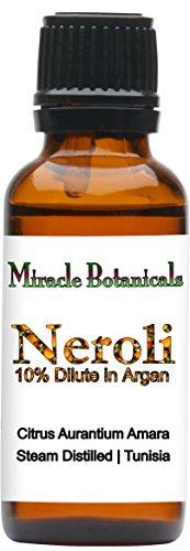 Miracle Botanicals Neroli Essential Oil 10% DiluteFine Quality Medicinal Grade Citrus Aurantium Amara in Golden Argan - 10ml or 30ml Sizes - 30ml