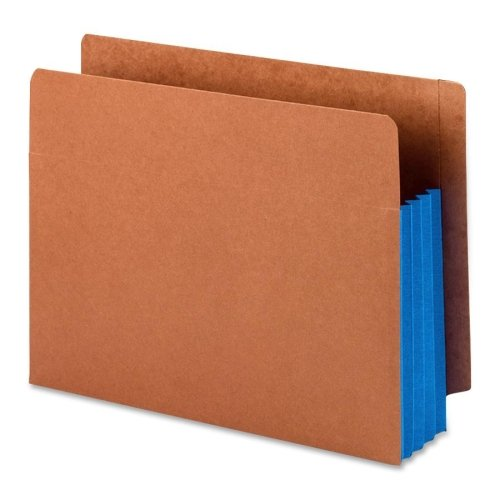 Wholesale CASE of 10 - Smead Red Rope End-Tab File Pockets w/Clrd Gussets-Extra Wide File Pockets, 3-1/2 Exp, Letter, 10/BX, Blue