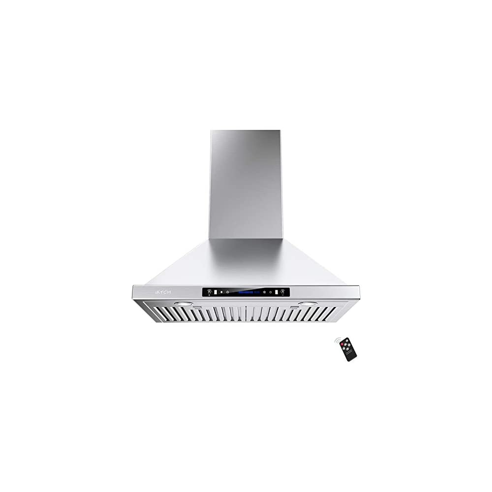 IKTCH 36-inch Wall Mount Range Hood 900 CFM Ducted/Ductless Convertible, Kitchen Chimney Vent Stainless Steel with…