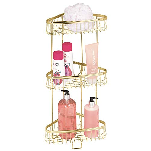 mDesign Decorative Metal Bathroom Corner Shelf Unit - Free Standing Vertical Storage Shelves for Organizing and Storing Hand Towels, Body Lotion, Facial Tissues, Bath Salts - Steel Wire, Soft Brass