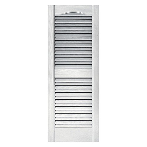 15 in. x 48 in. Louvered Shutters Pair in #117 Bright White ()
