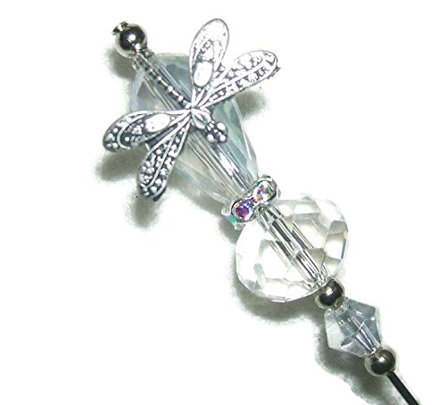 DRAGONFLY Stick Hat Pin Long Hatpin Vintage Style GLASS CRYSTAL Silver Plt