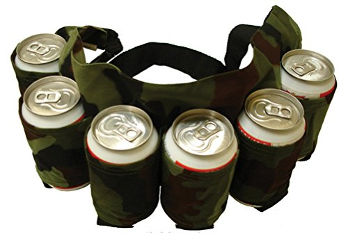 Woderful Redneck SIX Pack Beer Holster Camouflage Holds Nylon Belt Soda Camo 6 Pop Cans! (Camouflage) - Redneck Beer