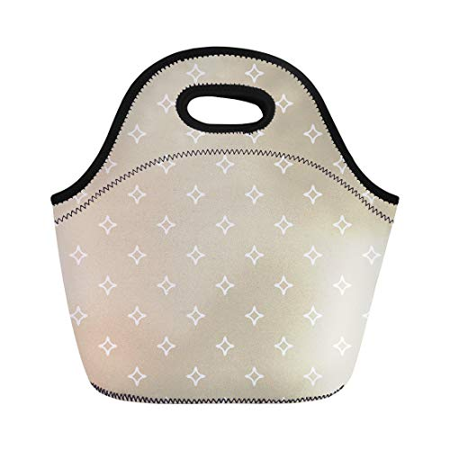 (Semtomn Neoprene Lunch Tote Bag Ornamental Diamond Shapes Stars Abstract Geometric Golden White Reusable Cooler Bags Insulated Thermal Picnic Handbag for)