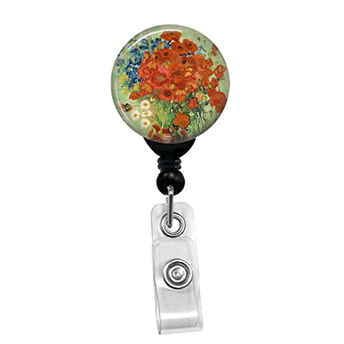 Vincent Van Gogh - Red Poppies And Daisies - Flowers In A Vase - Retractable Badge Reel - ID Name Tag Custom Badge Holder (Black Badge Reel with Spring Pinch Clip) (Pinch Vase)