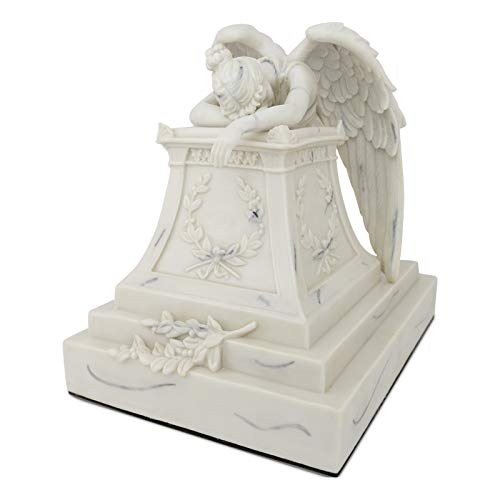 Angelo Triste Polyresin Memorial Urn for Adults - Extra Large - Holds Up to 220 Cubic Inches of Ashes - Marble White Cremation Urn for Ashes - Engraving Sold Separately