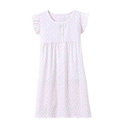 BOOPH Girls' Princess Nightgown, Cotton Baby Toddler Girl Heart Shape Dots Sleepwear Short Sleeve Nightwear Dress for Girls White 2-3 Year -