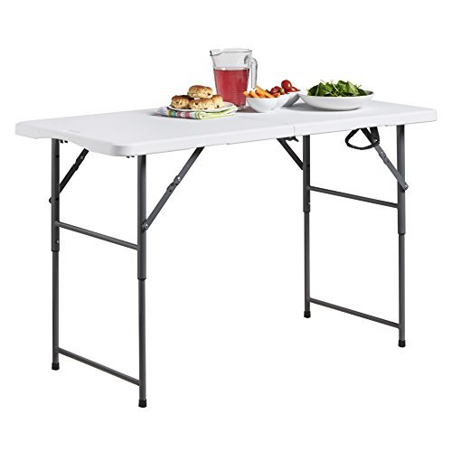 VonHaus 4ft Folding Table with Adjustable Height Portable Table: Picnic / Garden / Tailgate / Beach / Camping / Functions / Buffet / BBQ - Max Load 440lbs, Coated Steel & Extra Strong Durable Plastic