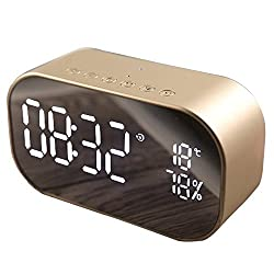 Per Clock Digital Multifunction Watches Small Table Alarm Clock Charge USB or Batteries Simple Style Modern Car BT Speaker-Champagne