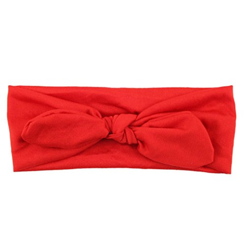 Lavany Cute Baby Headband Kids Girls Rabbit Bow Ear Hairband Turban Knot Head Wraps (Red)