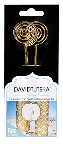 David Tutera Card Holder Picks - Gold - 6 inches - 6 Pieces]()