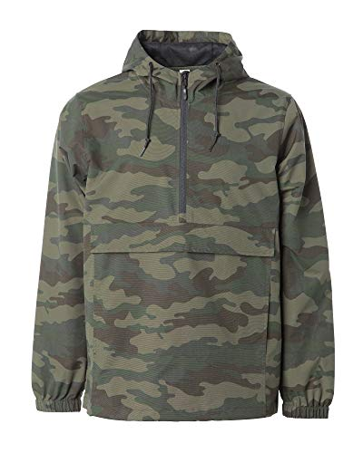 - Global Mens Hooded Rain Coat Waterproof Jacket Pocket Zip Up Windbreaker Hoodie (Camouflage, X-Large)