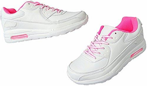 Damen Herren Laufschuhe Sportschuhe Turnschuhe Sneaker Schuhe 36 - 41 Art.-Nr.1617 weiß-fuchsia