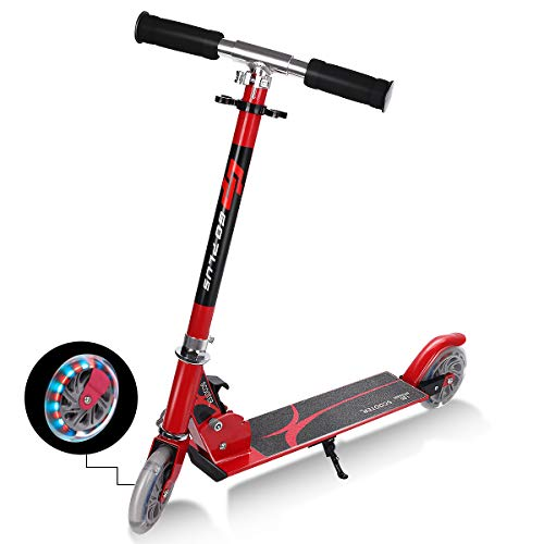 Goplus Folding Kick Scooter for Kids Deluxe Aluminum 2 Wheels Glider Adjustable Height with LED Light Up Rear Wheel for Girls and Boys (Red)