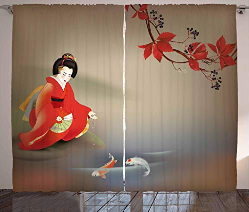 Lunarable Koi Fish Curtains, Geisha Feeding Sacred Beast Autumn Time Asian Culture Eastern Vibes Oriental, Living Room Bedroom Window Drapes 2 Panel Set, 108 W X 63 L Inches, Sepia Multicolor ()