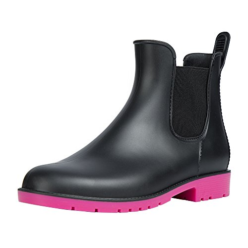 Slip Boots Booties Waterproof Chelsea Short Rose Ankel On Asgard Women's Rain PwqBXxCAx