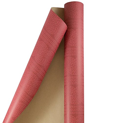 JAM PAPER Gift Wrap - Christmas Kraft Wrapping Paper - 25 Sq Ft - Red Ivy Kraft Paper - Roll Sold Individually