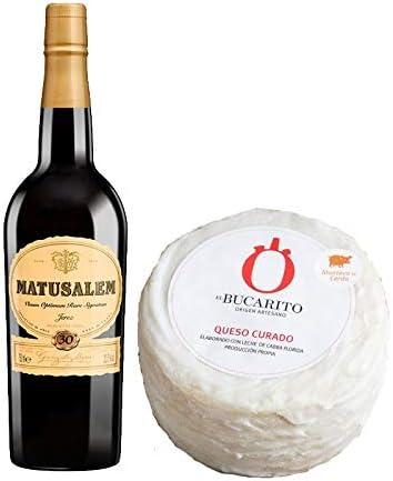 Pack de Vino Oloroso Dulce Matusalem y Queso Curado en Manteca Pasteurizado - Vino de 75 cl y Queso de 850 g aprox - Mezclanza