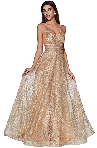 - Meier Women's Glitter Tulle Double V-Neck A-Line Prom Formal Gown (Gold, 4)