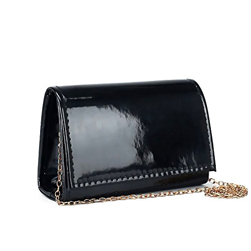 Ladies Classic Elegant Black Vegan Faux Leather Bag Purse with Chain Strap Clutch (Black) by Red Cube