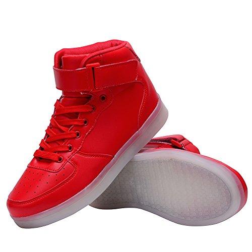 Scarpe Alto Colore Luminosi Rosso Lampeggiante ODEMA Sportive a Sneakers Collo Uomo LED 7 PUqxEw06