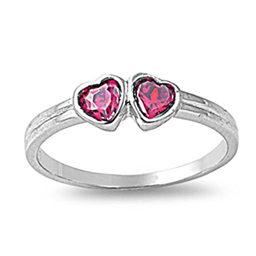 Simulated Ruby Double Heart Love Baby Cute Ring New 925 Sterling Silver Band Size 1 Double Heart Baby Ring