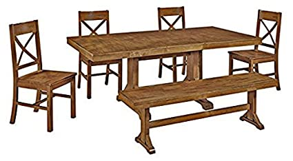 6 Piece Solid Wood Dining Set, Antique Brown