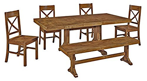 Wood Trestle Dining Table - 6-Piece Solid Wood Dining Set, Antique Brown