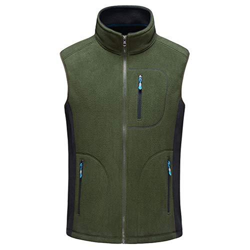MEI Guihua Men's Upset Casual Slim Zipper Short Jacket Fall Vest Army Green XXXL