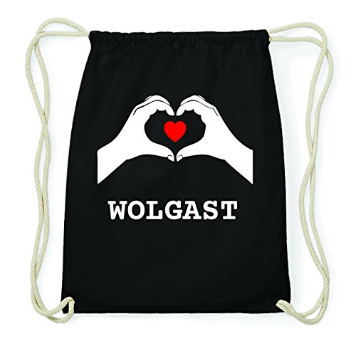 JOllify WOLGAST Hipster Turnbeutel Tasche Rucksack aus Baumwolle - Farbe: schwarz Design: Hände Herz muuwfNR