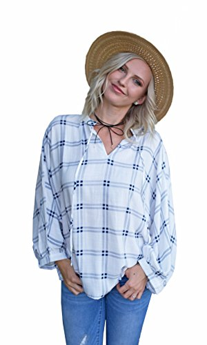 Easel Clothing Mankato Loose Fit Bohemian Top With Tie Blue Plaid Easel Clothes (Medium) (Stores Mankato)
