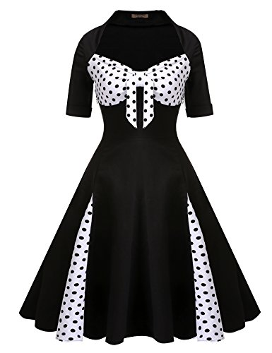 Dot Floral Fabric - ACEVOG Women Vintage 1950's Floral Garden Picnic Dress Cocktail Party Dress(Black,S)