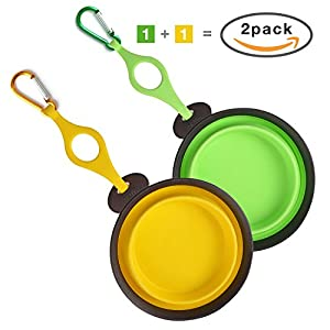 Portable Dog Food Water Bowl, 5.8 Inch Collapsible Foldable Pet Bowl with Bottle Holder and Carabiner, Pack of 2 Colors(Green and Yellow)