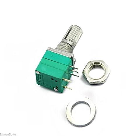 5pcs B10K Amplificador de sonido Sealed potenciómetro 15mm Eje 5 pines con interruptor: Amazon.es: Bricolaje y herramientas