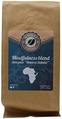 Maddat Ethiopian Sidamo Fair Trade Organic Coffee, Medium Roast, Mindfulness Blend, Whole Bean, 12 oz