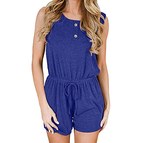 Yamally Women's Summer Solid Jumpsuit Casual Loose Short Sleeve Jumpsuit Rompers with Pockets Elastic Waist Playsuit Blue