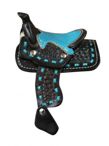 Miniature Display Black Saddle with Teal Buckstitch -