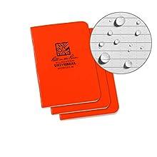"Rite In The Rain Weatherproof Mini Stapled Notebook, 3.25"" x 4.625"", Orange Cover, Universal Pattern, 3 Pack (No. OR71FX-M)"