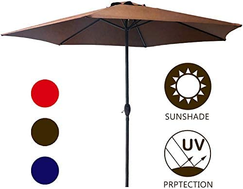LOKATSE HOME 9' Market Outdoor Patio Table Umbrella