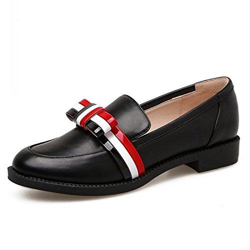 KHSKX-Ingles Viento College Pequeños Zapatos De Cuero Colorear Pajarita Fondo Plano Solo Zapato Zapatos De Tacon Plano Cucharón black