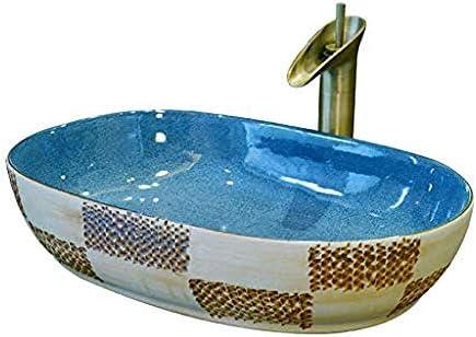 彫りオーバル上記カウンター盆地浴室のシンクのセラミック容器洗浄ハンズプールの蛇口1セット