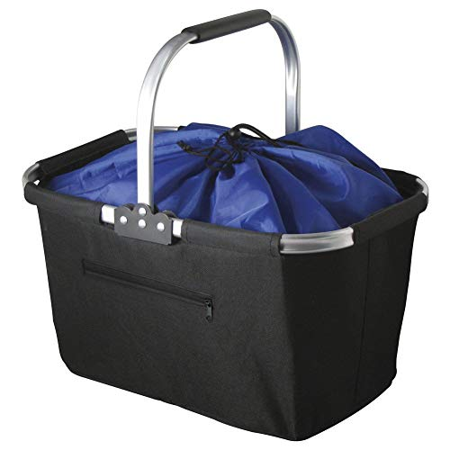Marbrasse Collapsible Market Basket, Reusable Grocery Shopping Bag, Picnic Tote with Strong Aluminum Frame and Handles, Reinforced Bottom, Durable Polyester Fabric and Drawstring Closure ()